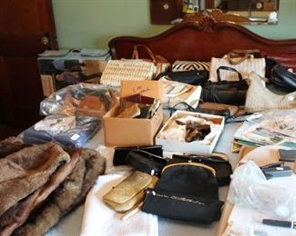 Mink, furs vintage evening bags, purses and more