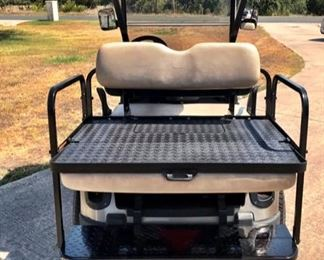 EZ GO GOLF CART ( Make :RXV Powertrain : Electric 48V Submodel : RXV with Lights and Rear Seat Year : 2014 with 4 BRAND NEW TROJAN T-1275 BATTERIES - 12 VOLT)