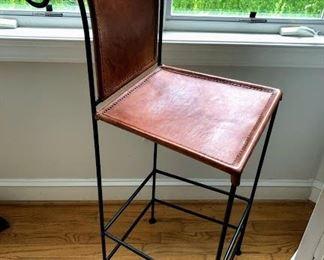'Restoration Hardware' leather bar stools x 4