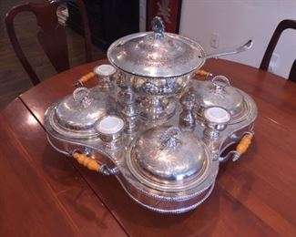 Vintage Sterling Plate Crown Silver Inc. 18 Piece Lazy Susan/Dumb Waiter Supper Set