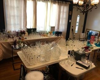 Crystal and glassware including Waterford, Fenton, Fire King, etc.