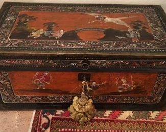 Antique Hand Painted Chinese Trunk