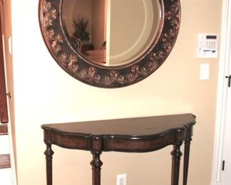 Demi-lune Foyer Table with Large, Round Framed Mirror