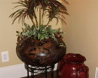 Urn, Pot, Plants and Plant Stand