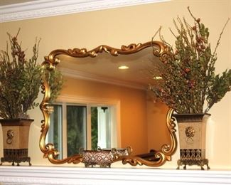 Large Decorative Mirror with Pair of Decorative Dried Arrangement