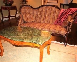 Settee and Marble Top Coffee Table
