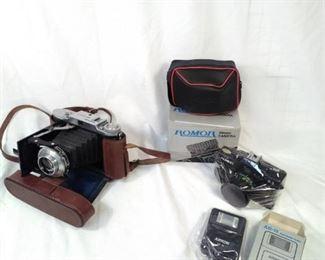 Voigtlander bessa I with case. New Romor 35mm and new arkon flash