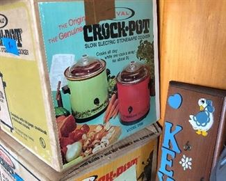 vintage crock pots in original boxes