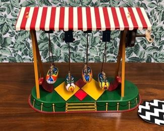Vintage Wind Up Tin Toy Boat Carnival Ride Swing-made in Germany