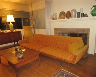 Matching pair of Teak MCM  sofas (9 feet each )