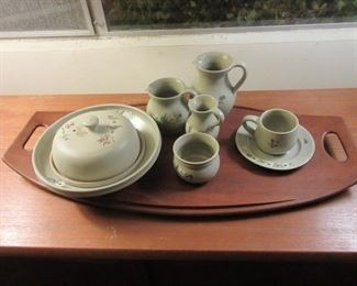 Breakfast H/P Austrian  pottery dishware on Teak MCM tray