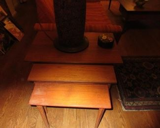 Set of 3 Teak stacking MCM tables