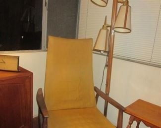 Unusual MCM Teak Recliner  w/ pole lamp ..all original