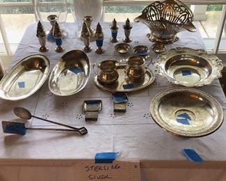 Sterling Silver - multiple items including bowls, serving trays, shakers, matchbooks, ice tongs