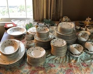Eschenbach brand porcelain china set. Nanette pattern. Large collection, good condition.