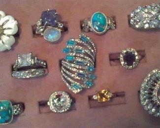 925 rings, gemstone, MOP, Turquoise ...
