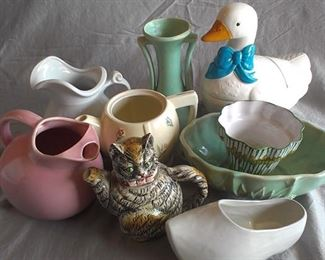 selection of ceramic planters, etc.