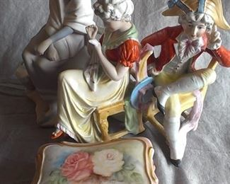 Selection of porcelain, one a Lladro