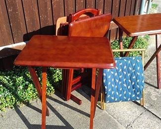 Vintage Stacking wood folding tables, good for friends over to eat and watch the Cowboys