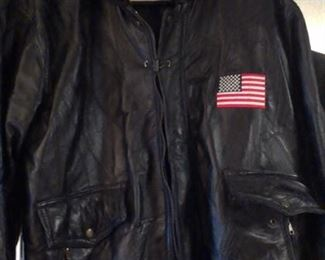 Mens USA leather patchwork bomber jacket XL