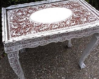 Whitewashed carved sml table, amazing detail