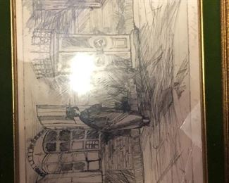 Pencil etching artist signed