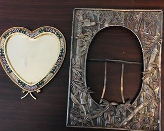 Italian Mosaic Heart Frame and Arts and Crafts Chinese Silver Frame (hallmarks)