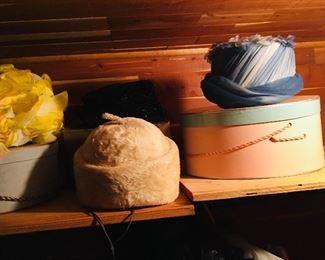 Vintage hats, clothes, parasols...