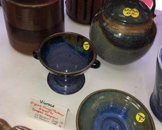 Vintage forge pottery: raccoon, signed by Douglas Ferguson; signed bowls, jug