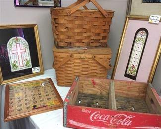 Two Del Dace watercolors. Vintage picnic basket and Longaberger basket. Vintage Coca Cola crate.