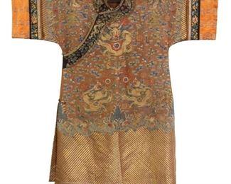 A Brown Ground Gauze Summer Ladys Dragon Robe
