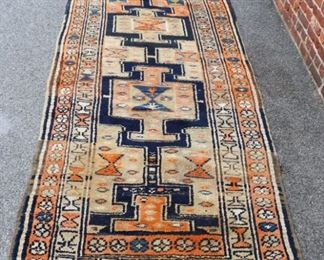 Antique And Finely Hand Woven Kazak Style Runner