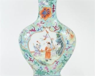 A Famille Rose Turquoise Ground Vase as a Lamp