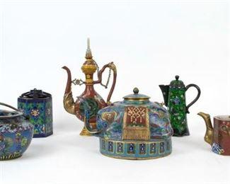 A Group of Cloisonne Teapots