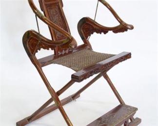 A Hardwood HorseshoeBack Folding Chair