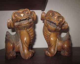 Vintage Wood Foo Dogs ~ Traveled Tons of Asian Collectibles