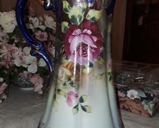 Large handpainted pitcher.