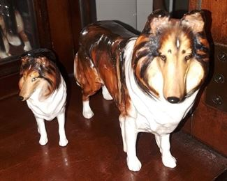 "Occupied Japan ""collies"" figurines."