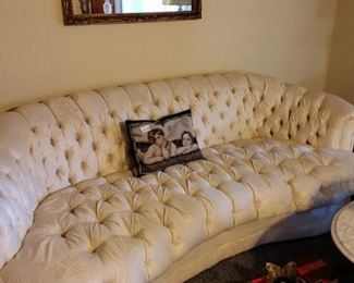 004 Off White Tufted Sofa and Throw Pillow