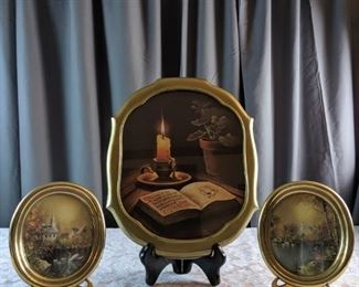 3 Metal or Plastic Gold Framed Prints of a Scripture and Churches