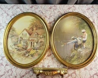 3Pc Set of 2 Gold Plastic Framed Prints and Gold Plastic Wall Shelf