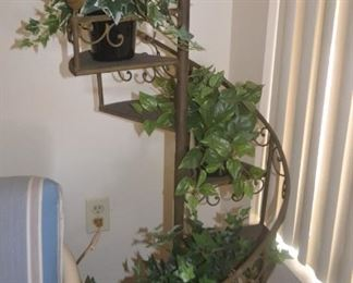 PLANT STAND WITH ARTIFICIAL PLANTS