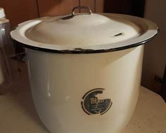 Enamelware covered pot.