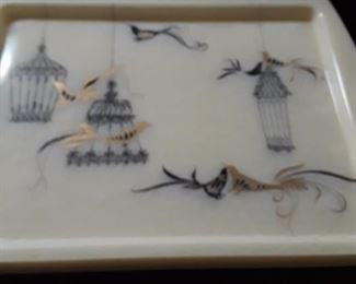 Vintage trays, bird theme.