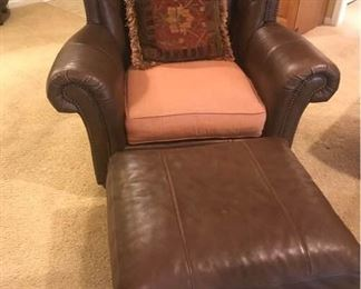 Drexel Heritage Leather Chair with Ottoman