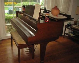 Kawai baby grand piano - teak cabinet