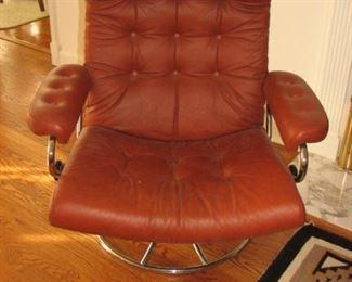 MCM Leather & Chrome Swivel Chairs (2)