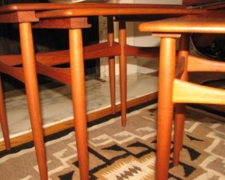 Set of 3 interlocking Hans Wegner teak nesting tables