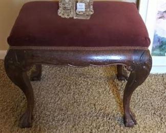 Velvet upholstered foot bench