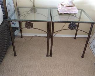 Pair of metal nightstands that match queen bed frame